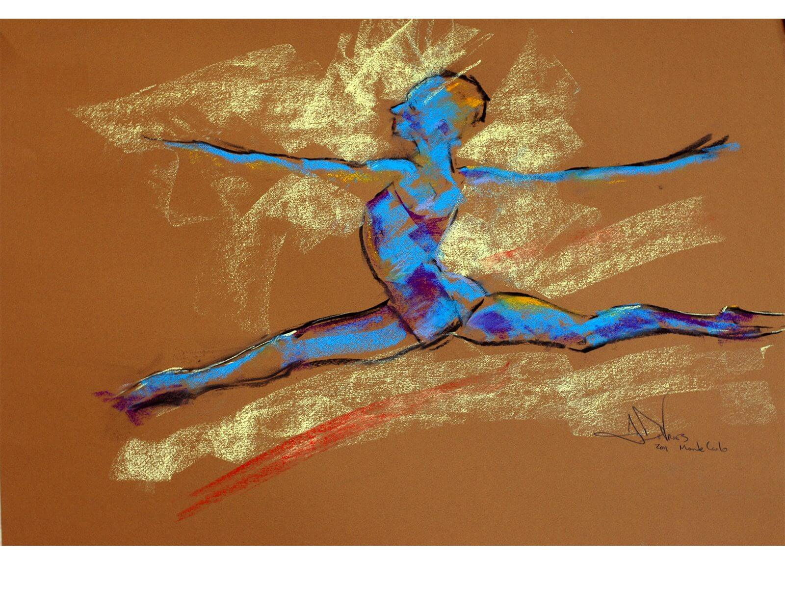 Blue Dancer a dance pastel painting by Andrew DeVries created from a sketch done in the Princess Grace Academie de Dance in Monaco. Copyright 2011.