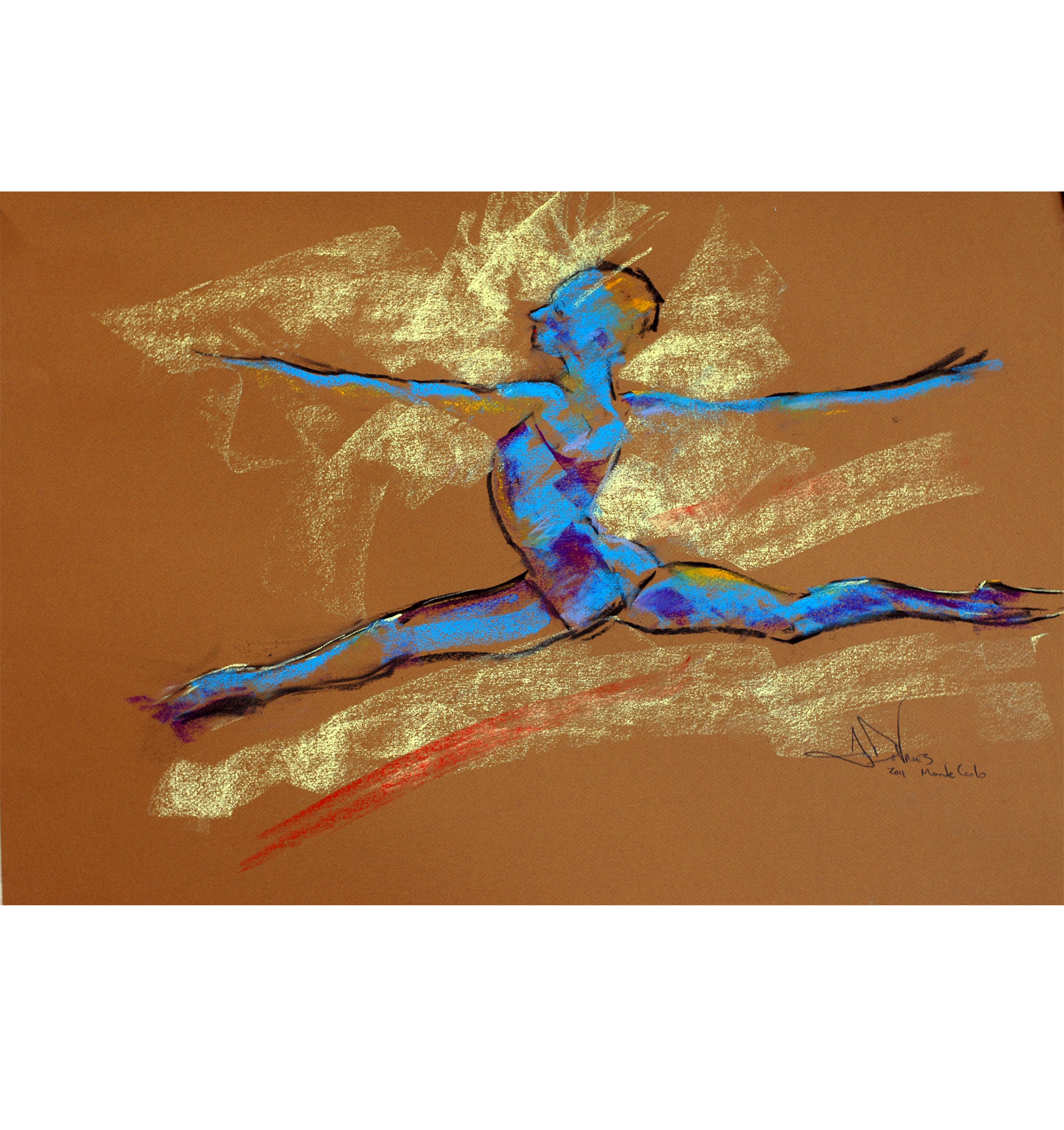 Blue Dancer a pastel drawing of a female dancer by Andrew DeVries