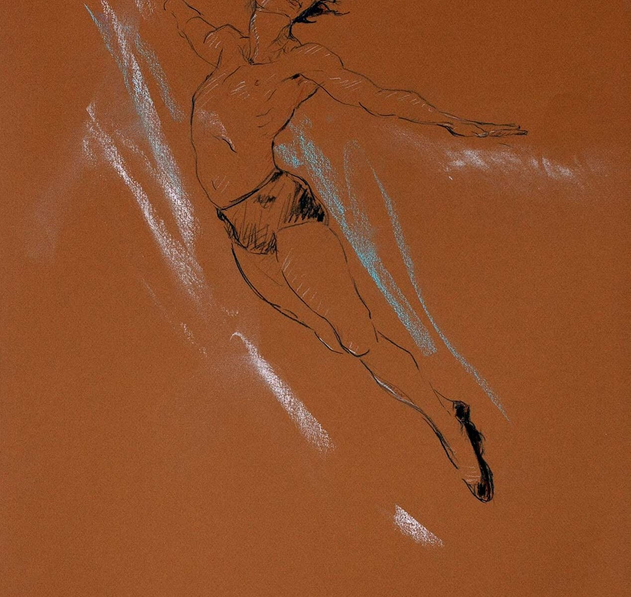 Flying Solo a dance pastel by Andrew DeVries copyright 2009.