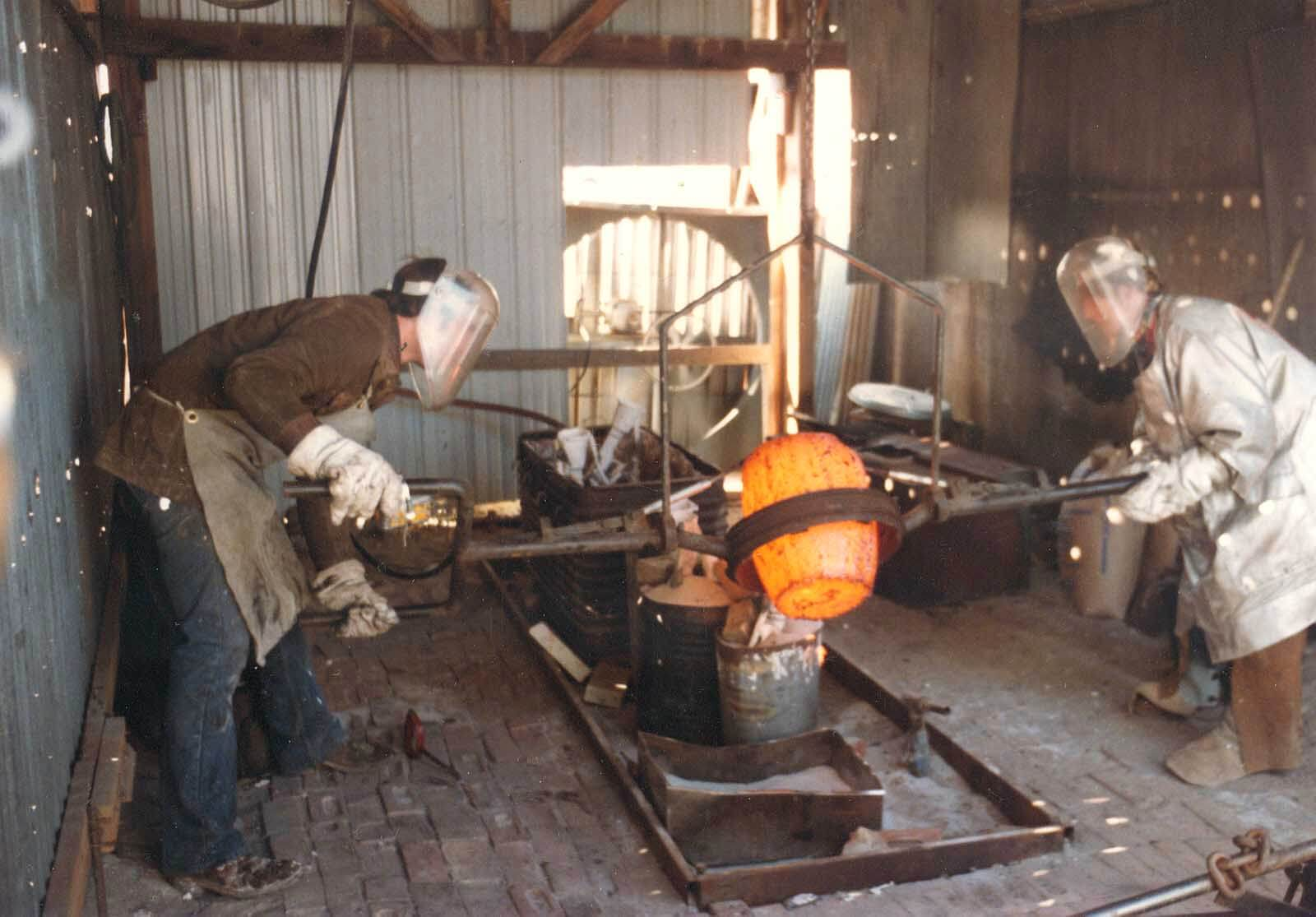 Andrew DeVries pouring bronze in Denver, Colorado 1983