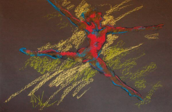 Soar a dance pastel painting by Andrew DeVries created from a sketch done at the Pittsburgh Ballet Theatre studios. Copyright 2015.