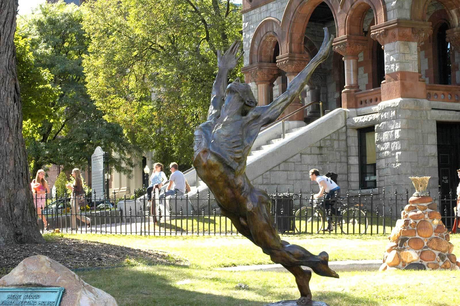 This man who Flies Bronze sculpture by Andrew DeVries Northampton exhibition
