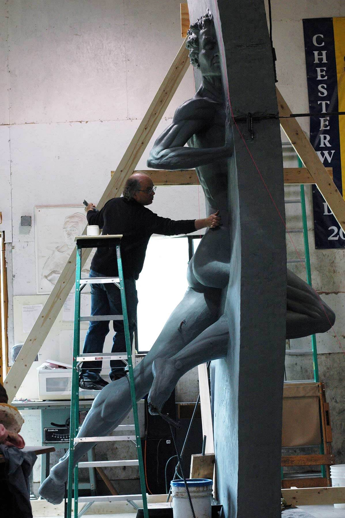 Andrew sculpting the clay model of the monumental Other Side of Eden 2015