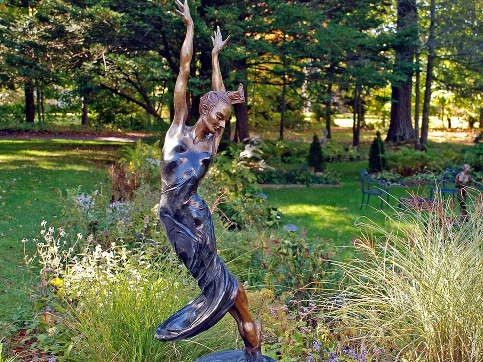 Allegro a Female Bronze Dance Figurative Outdoor Garden Sculpture by Andrew DeVries