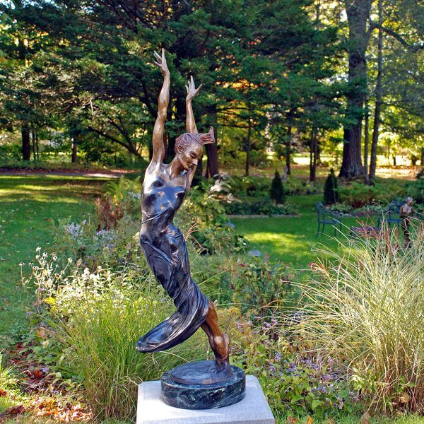 Allegro a Female Bronze Dance Figurative Outdoor Garden Sculpture by Andrew DeVries