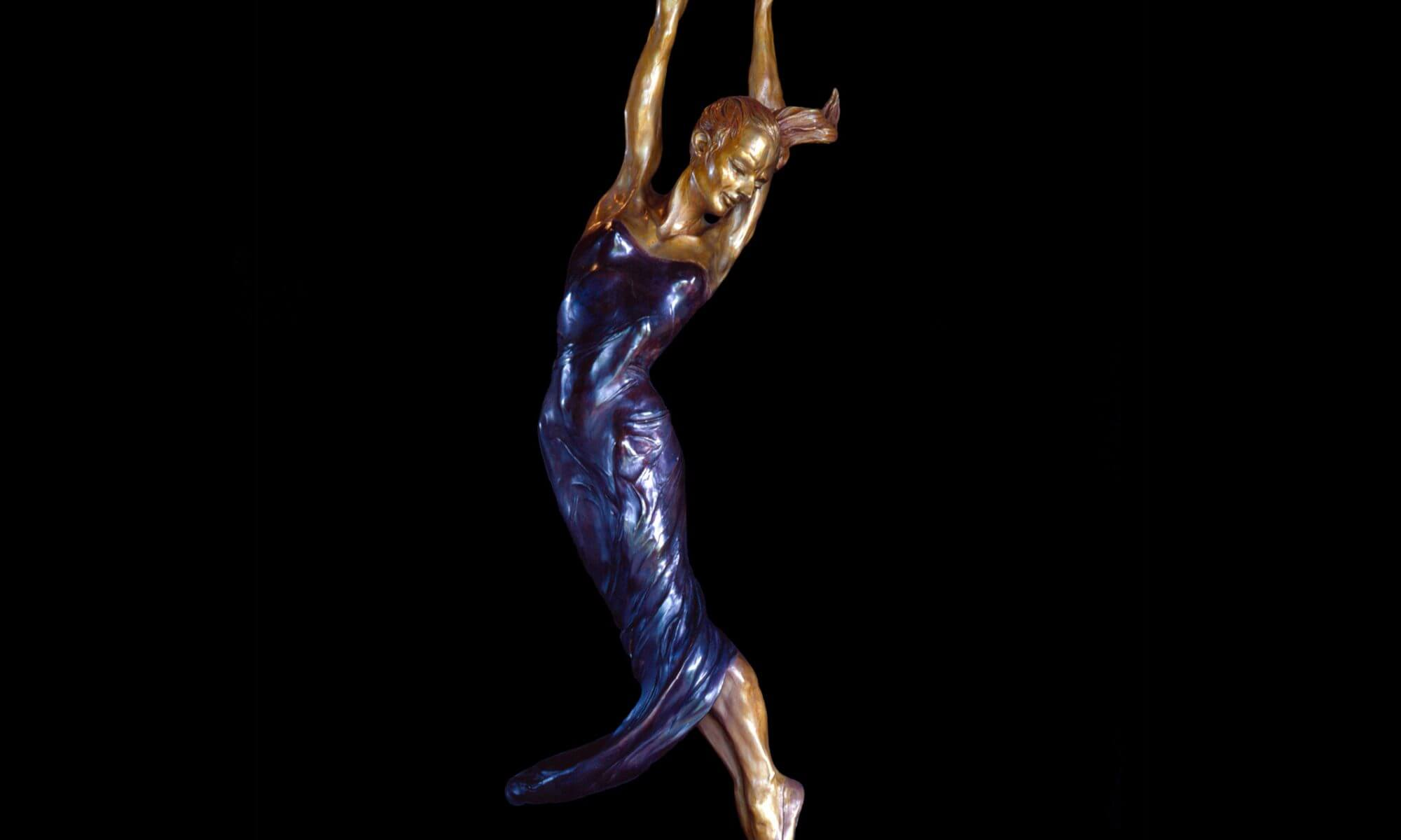 Allegro a half life size female figurative bronze dancer by sculptor Andrew DeVries