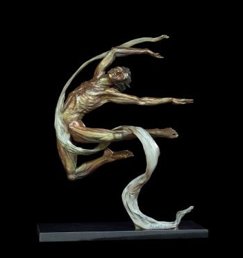 Apollo a large bronze male dancer sculpture by Andrew DeVries