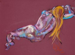 Back View a figurative pastel drawing of a live model by Andrew DeVries