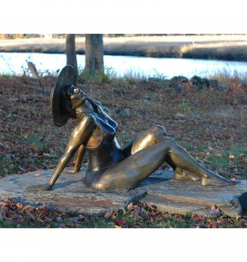 Bather a life size female Bronze Figurative Outdoor Garden Sculpture by Andrew DeVries