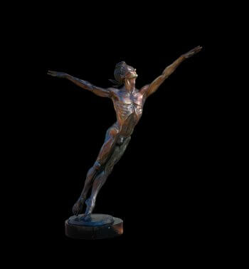 Blind Destiny a medium size male bronze dance figurative sculpture by Andrew DeVries