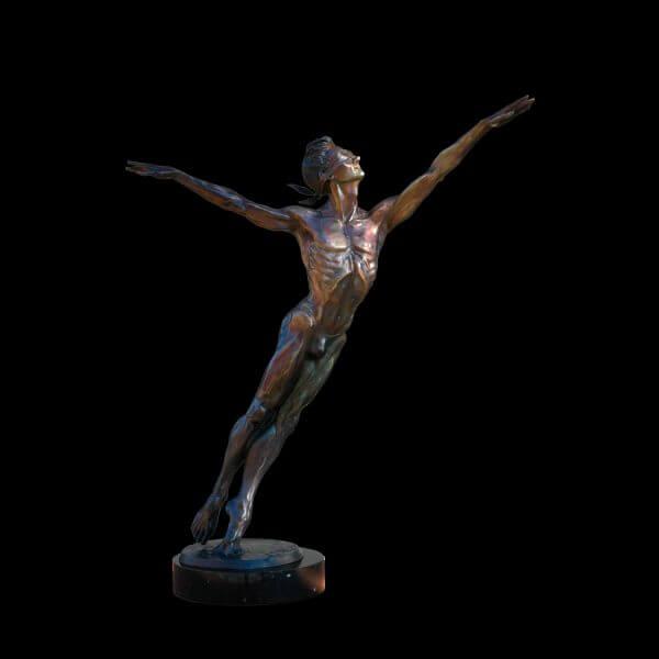 Blind Destiny a medium size male bronze dance figurative sculpture by Andrew DeVries