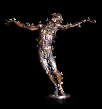 Butterfly Man a figurative bronze sculpture by sculptor Andrew DeVries