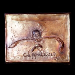 Cappucino a bronze figurative relief wall sculpture by Andrew DeVries