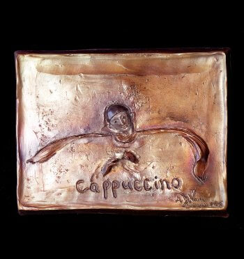 Cappucino a bronze figurative relief wall sculpture by Andrew DeVries