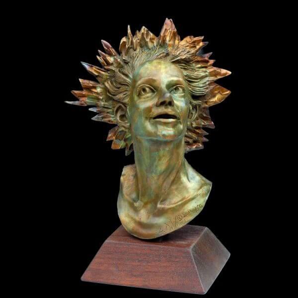 Celestial a female mask figurative bronze sculpture by Andrew DeVries