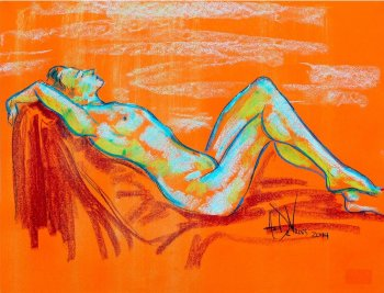 Clementine Sky a figurative pastel drawing of a live model by Andrew DeVries
