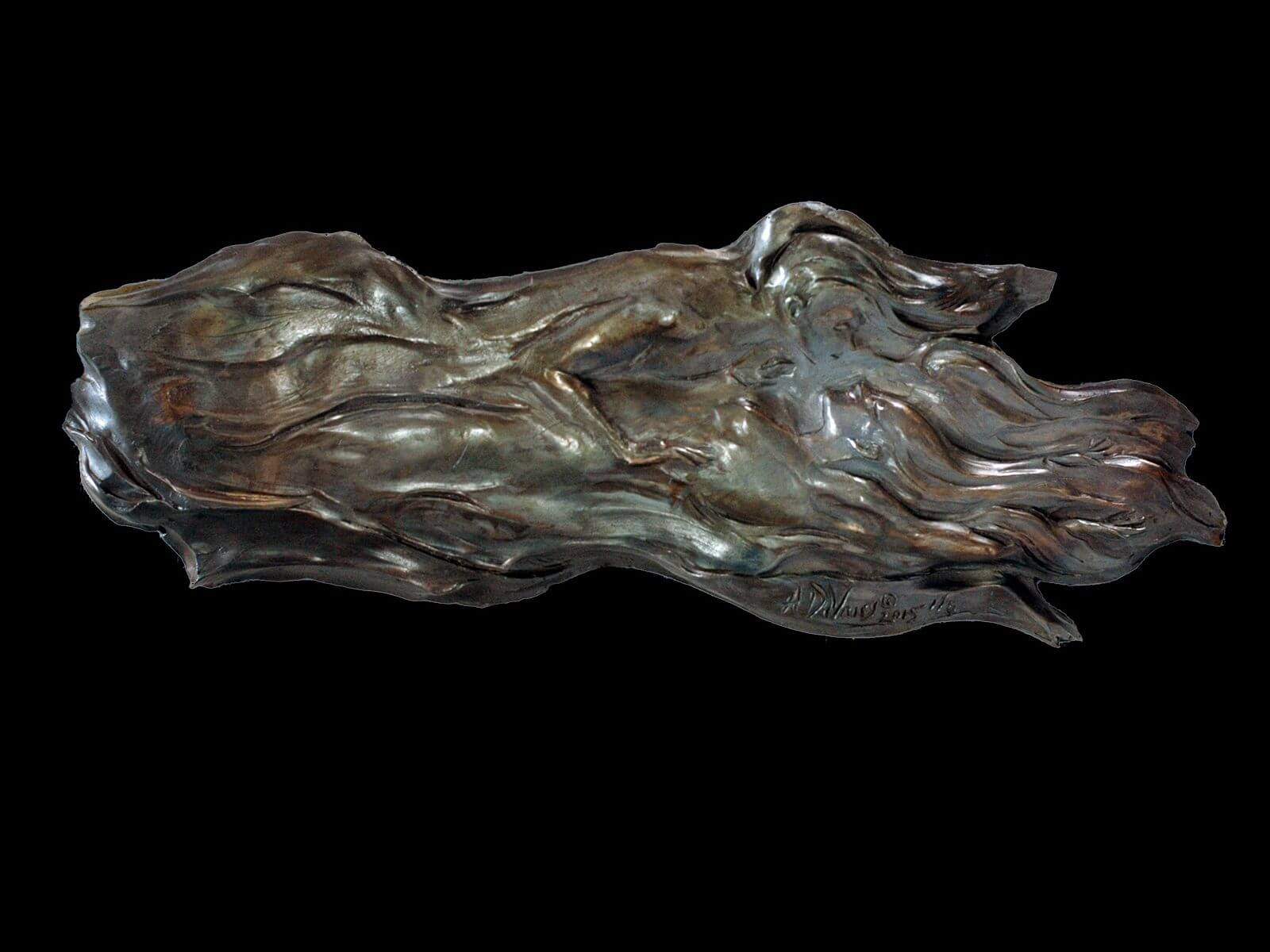 Cloud Lovers a bronze figurative relief wall sculpture by Andrew DeVries