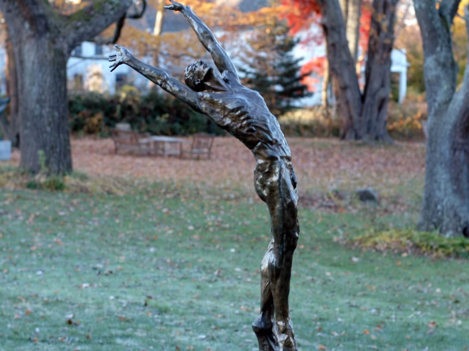 Dance of Morning a half life size Bronze male dancer Figurative Outdoor Garden Sculpture by Andrew DeVries