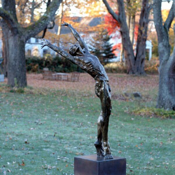Dance of Morning a half life size Bronze male dancer Figurative Outdoor Garden Sculpture by Andrew DeVries