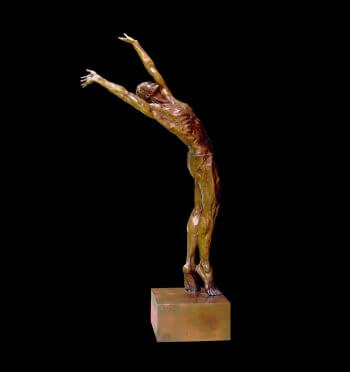 Dance of Morning a large male bronze dancer by Sculptor Andrew DeVries