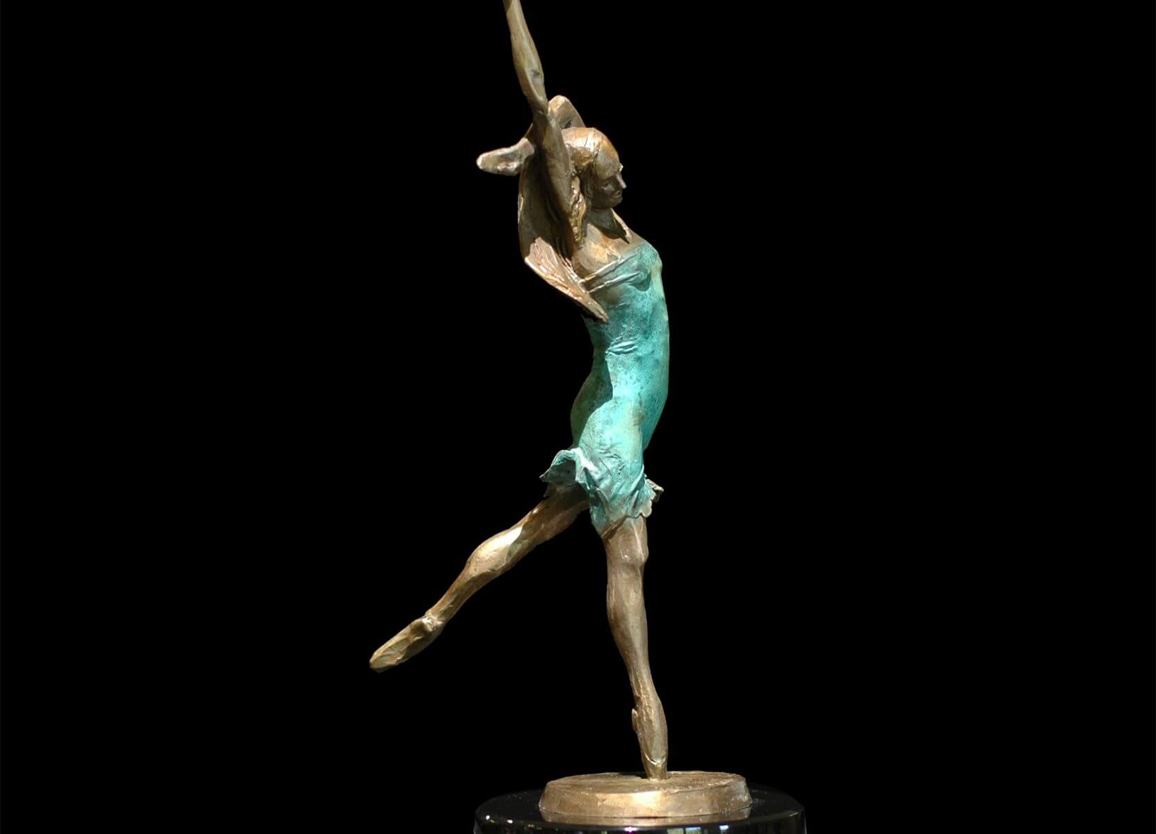 Dance with Me a small bronze female ballet dance sculpture by Andrew DeVries