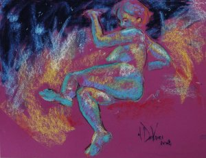Day into Night a figurative pastel drawing of a live model by Andrew DeVries