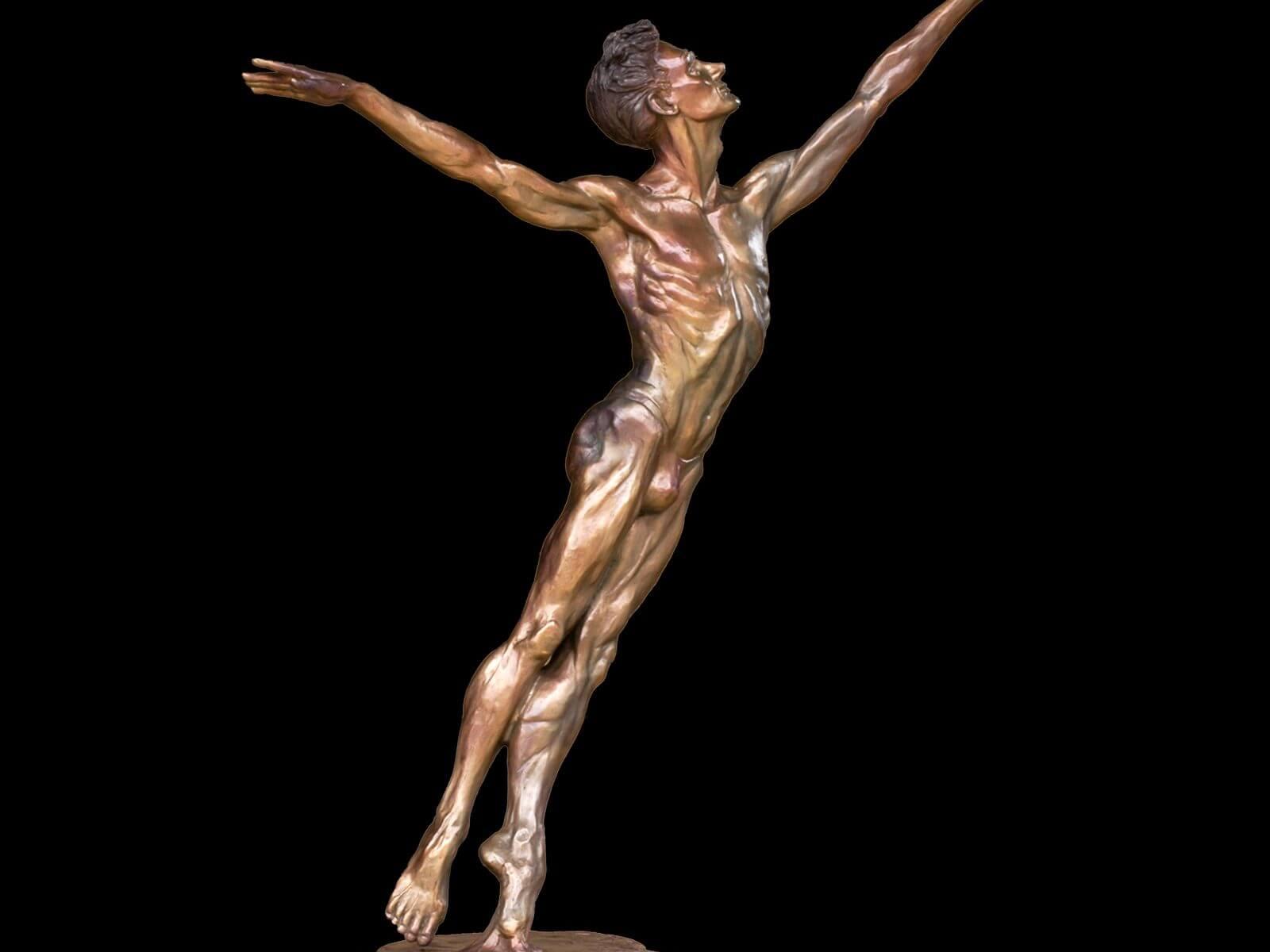 Destiny a medium size male bronze dance figurative sculpture by Andrew DeVries