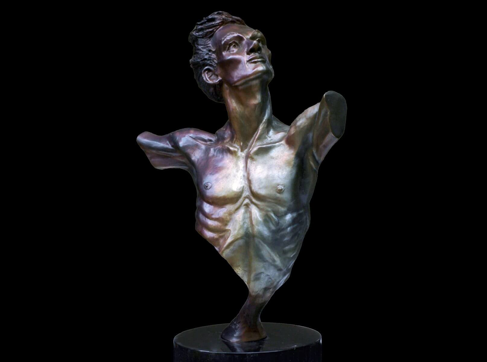 Destiny Bust a medium size bust of a male figurative dance sculpture by Andrew DeVries