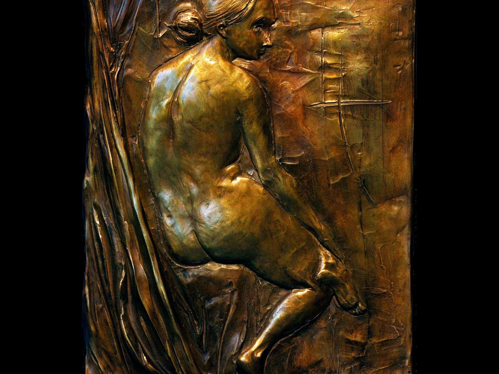 Diana a bronze figurative relief wall sculpture by Andrew DeVries
