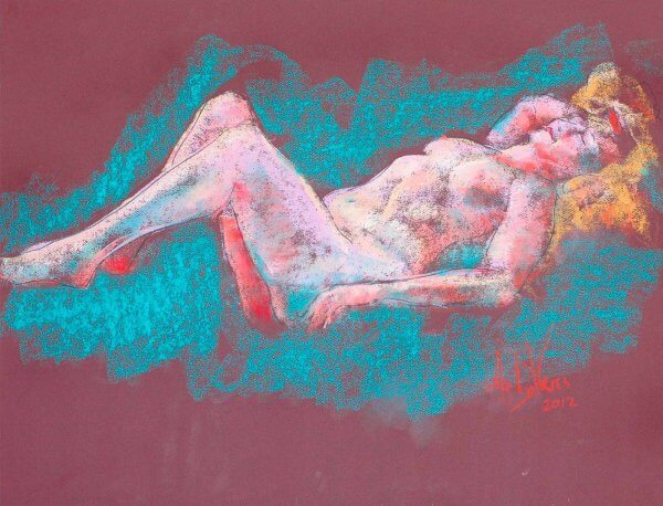 Dreams and Desires a figurative pastel drawing of a live model by Andrew DeVries
