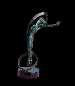 Echoes a medium size male bronze dancer figurative sculpture by Andrew DeVries