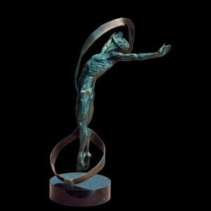 Echoes a medium size male bronze dancer figurative sculpture by Andrew DeVries