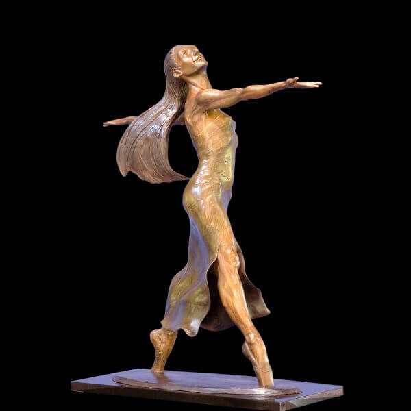 Etude a large female ballet bronze dancer by sculptor Andrew DeVries cpyright 2007