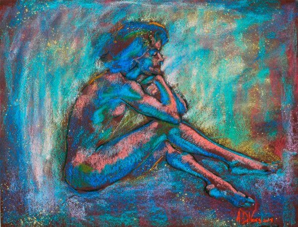 Evening Song a figurative pastel drawing of a live model by Andrew DeVries