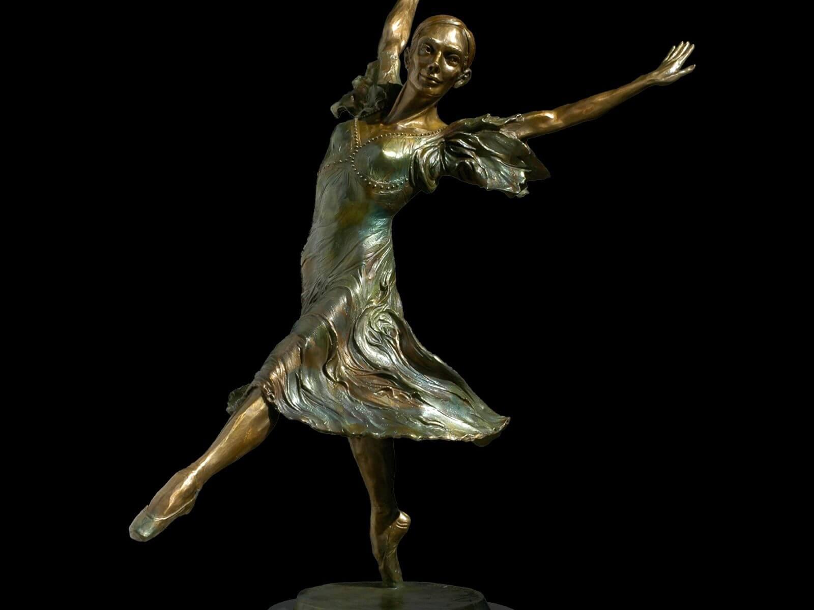 Faerie Dance a medium size ballet dancer bronze figurative sculpture by Andrew DeVries commissioned by Martha Grace