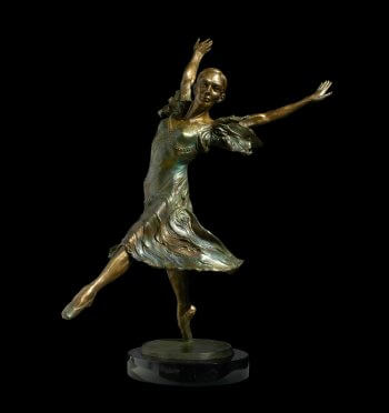 Faerie Dance a medium size ballet dancer bronze figurative sculpture by Andrew DeVries commissioned by Martha Grace