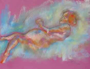 Field of Dreams a figurative pastel drawing of a live model by Andrew DeVries
