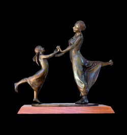 First dance a bronze dance sculpture of mother and daughter by Andrew DeVries