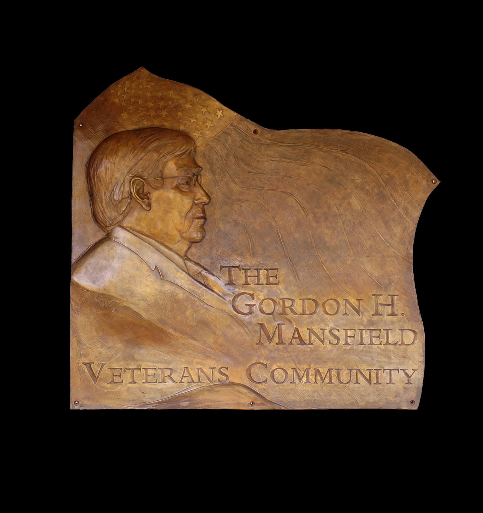Bronze relief portrait of Gordon Mansfield by sculptor Andrew DeVries commissioned by Andrew DeVries installed at Soldier On Pittsfield Massachusetts