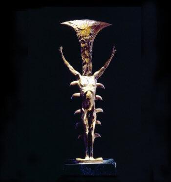 Gotterdamerung an abstract figurative bronze sculpture by Andrew DeVries