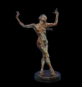 Gypsy Song a medium size bronze female nude figurative dancer by sculptor Andrew DeVries