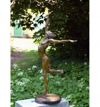 Sparrow a half life size female nude dancer a Bronze Outdoor Garden Sculpture by Andrew DeVries