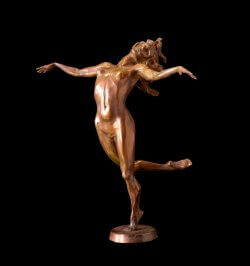Heavenly a medium size bronze female figurative dancer by sculptor Andrew DeVries