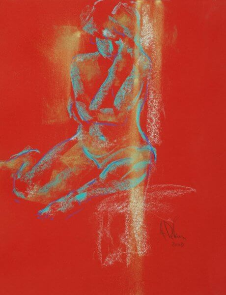 I Am a figurative pastel painting of a live model by Andrew DeVries