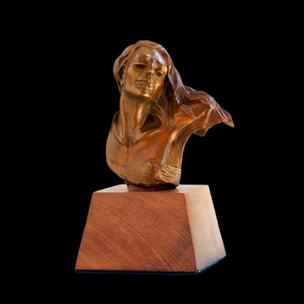 Invitation bust a small figurative bronze sculpture by Andrew DeVries