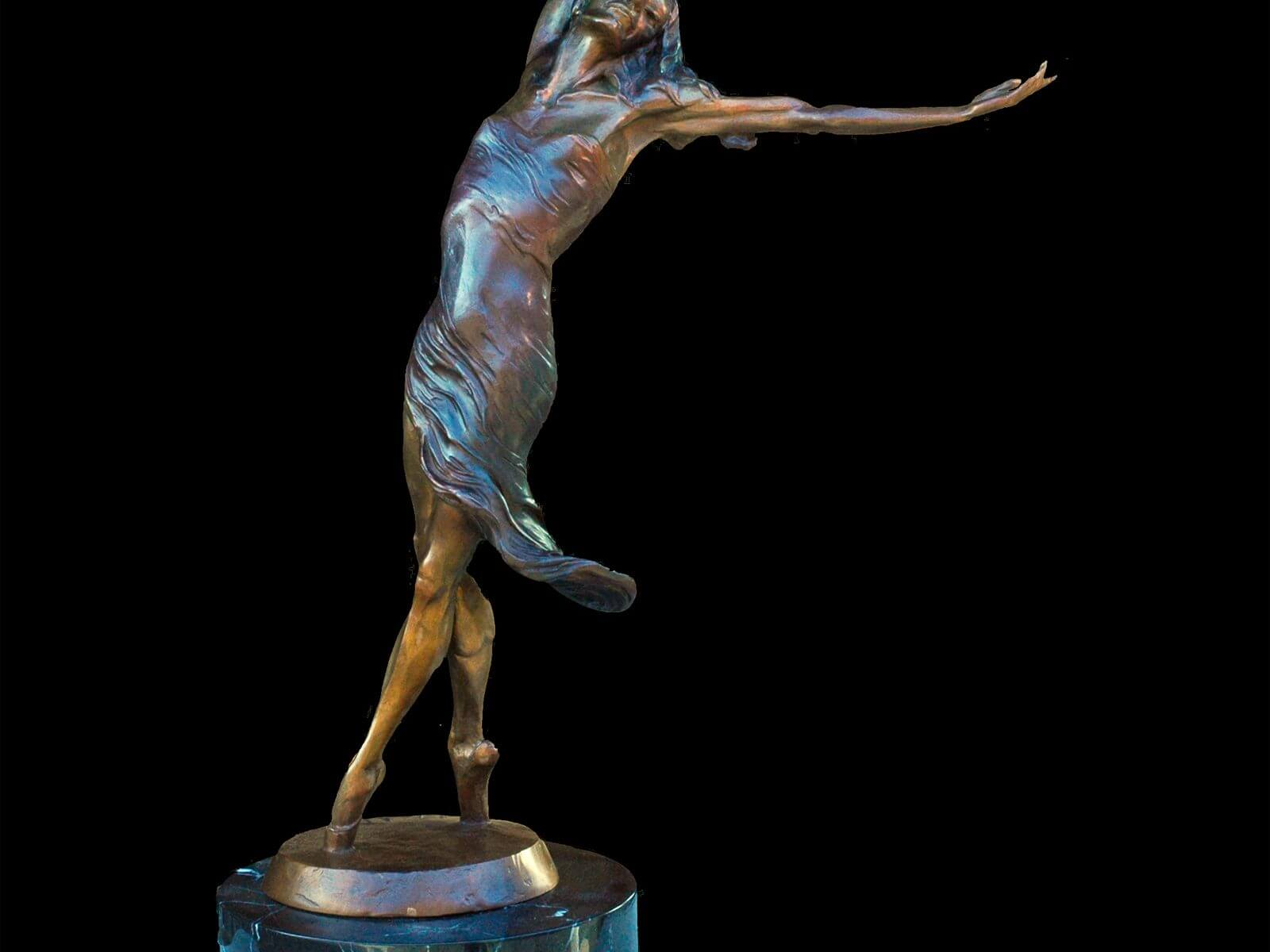 Invitation to dance a medium bronze ballet figurative dance sculpture by Andrew DeVries
