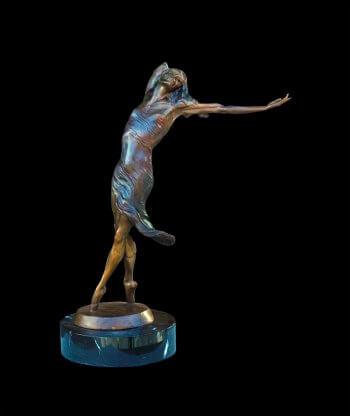 Invitation to dance a medium bronze ballet figurative dance sculpture by Andrew DeVries