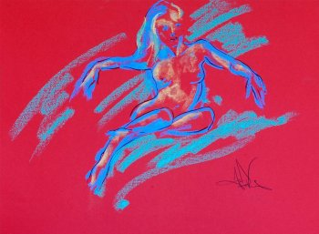 Jazzy is an original pastel painting of a female nude drawn from a live model in the studio