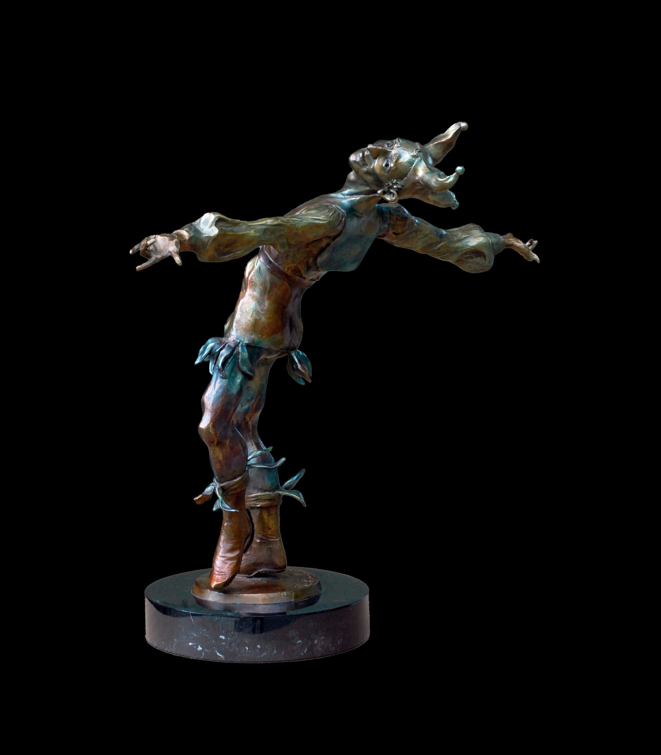Jester a figurative bronze jester sculpture by sculptor Andrew DeVries