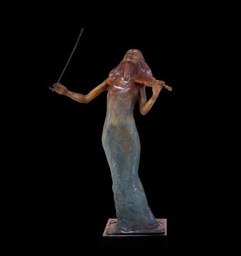 Rapture a female violinist bronze figurative sculpture by Andrew DeVries